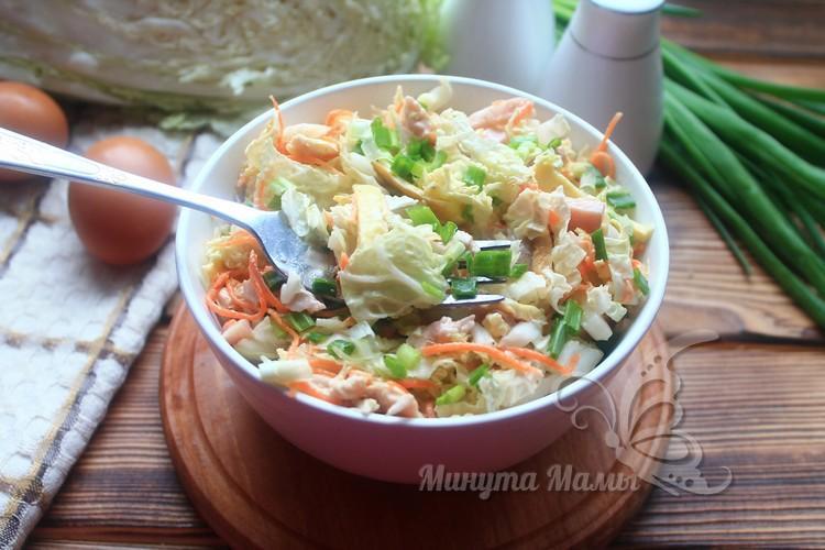 Фото-рецепт салата «Анастасия» с пекинской капустой и корейской морковкой