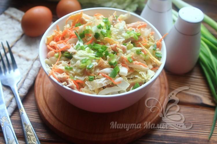 Салат «Анастасия» с пекинской капустой и корейской морковкой рецепт с фото пошагово