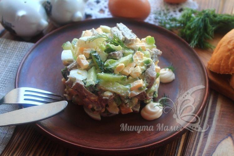 Классический салат «Фаворит» с языком - рецепт с фото