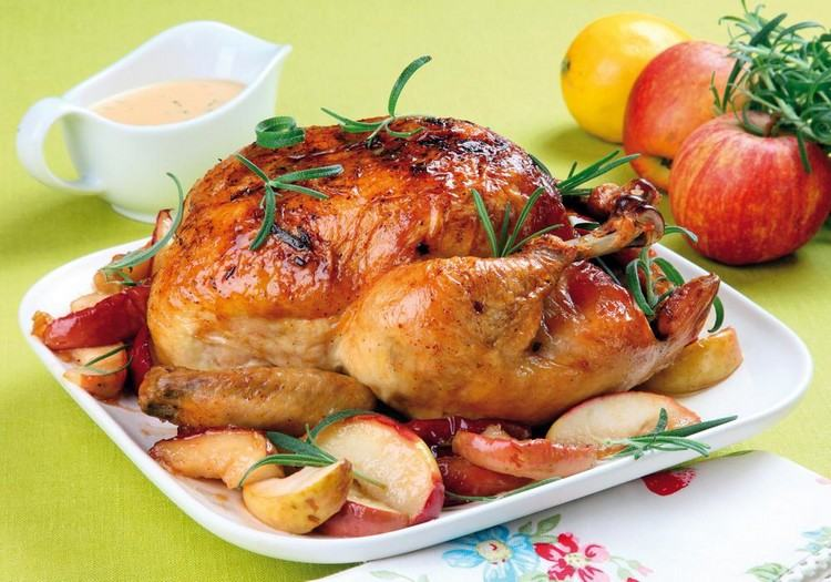 Курица в духовке с яблоками