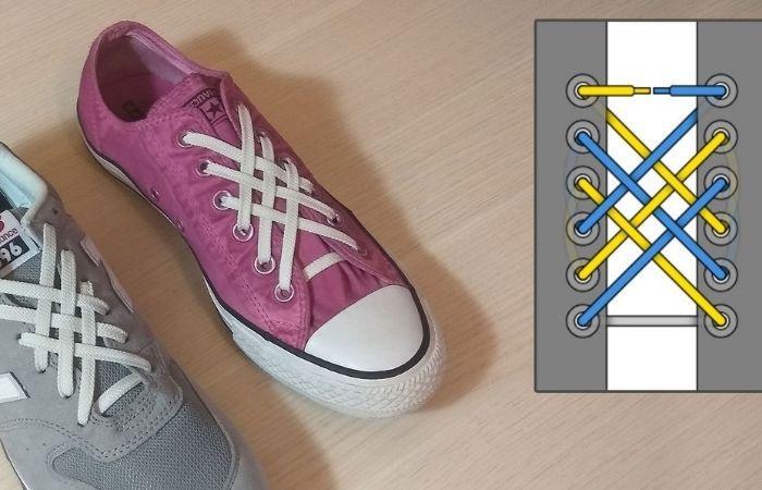 красивая шнуровка кроссовок с 5 дырками