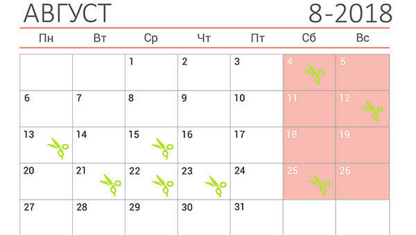 лунный календарь стрижек на август 2018 года
