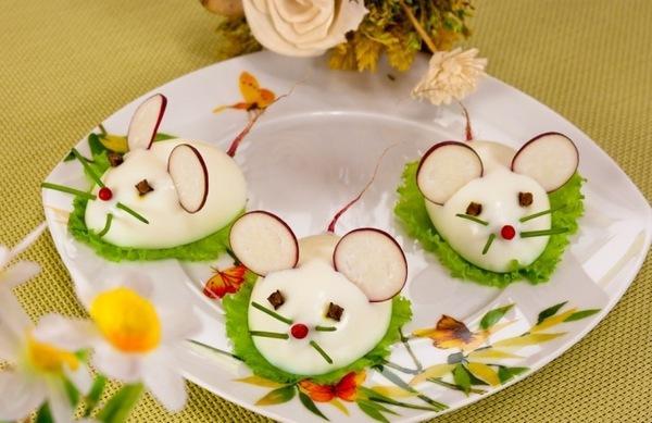 крыски из яйца и редиски