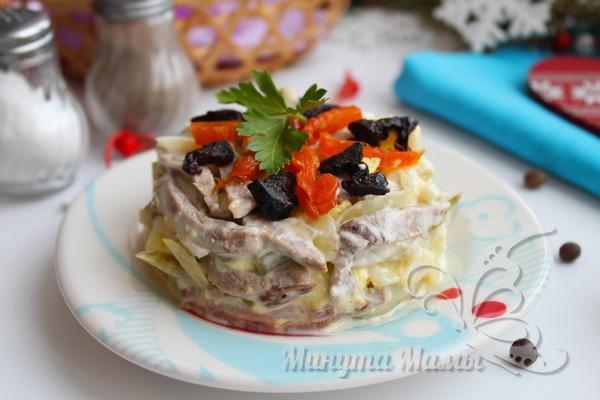 Вкусный салат с говяжьим языком «Застольный»