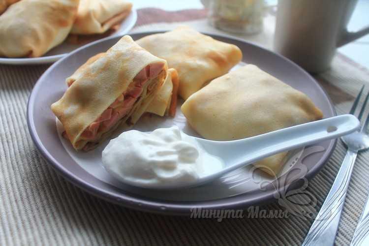 блины с колбасой и сыром рецепт с фото пошагово
