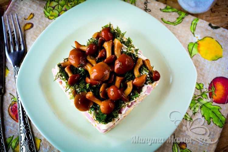 салат грибная поляна с опятами рецепт с фото с ветчиной и сыром