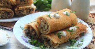Блины с курицей и грибами в сливочном соусе – рецепт с фото пошагово
