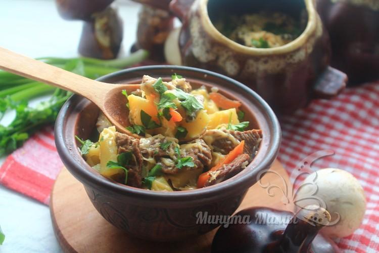 Говядина в горшочках с картошкой и грибами в духовке