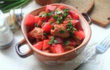 Суп из говядины с вермишелью и картошкой