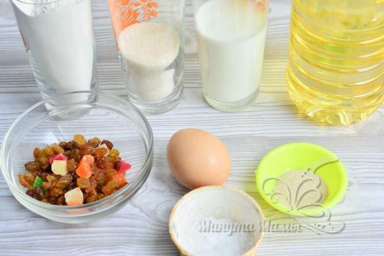 Ингредиенты кулича на Пасху из сухих дрожжей