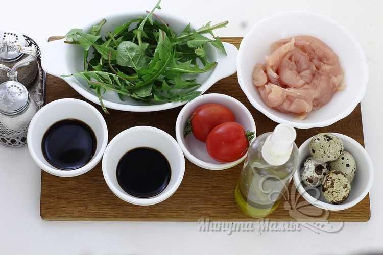 Ингредиенты салата из одуванчиков
