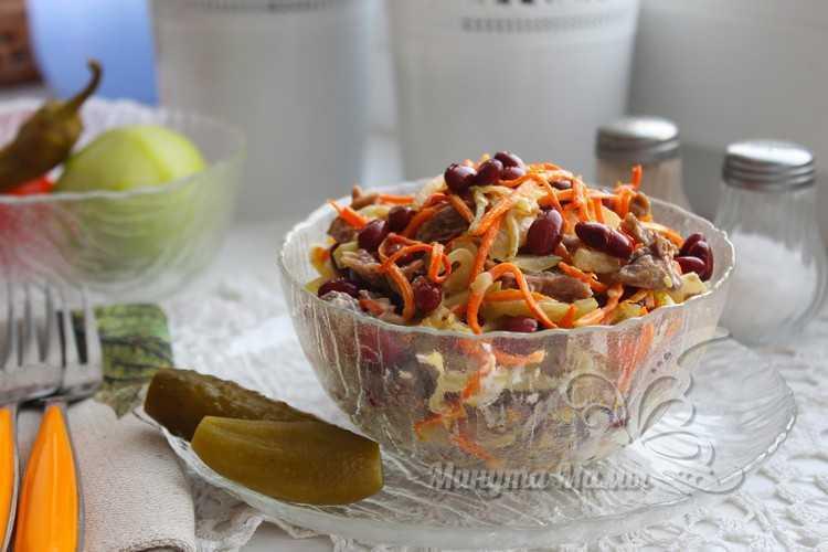 быстрый салат с мясом и фасолью