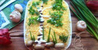 Слоеный салат «Березка» с черносливом и курицей и грибами