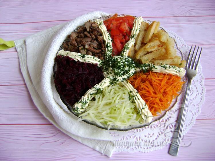 Салат «Ералаш» - рецепт с фото пошагово с мясом и сырыми овощами