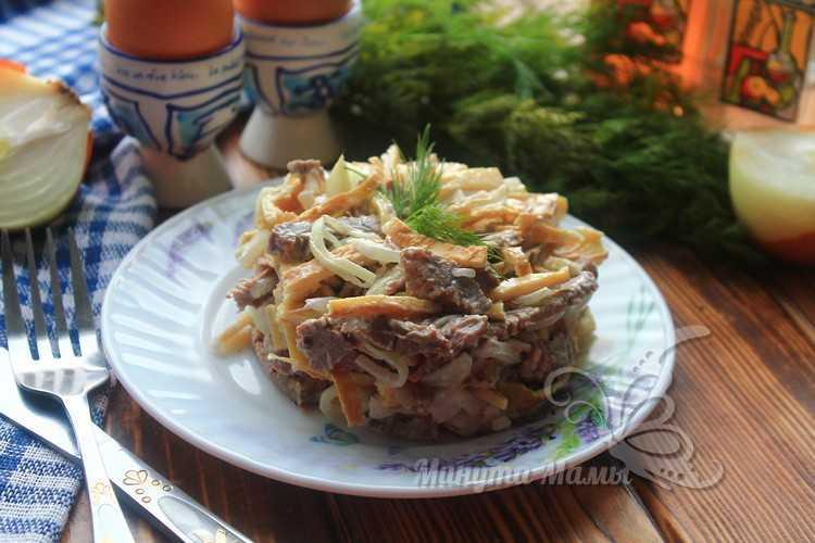 Фото-рецепт вкусного салата из говядины с маринованным луком