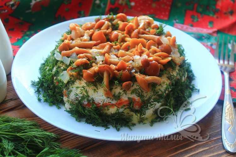 Рецепт с пошаговыми фото салата «Лесная поляна» с опятами