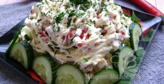 Салат «Нежность» с курицей, огурцом и яйцом