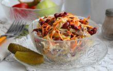 Очень вкусный салат из говядины с маринованным луком