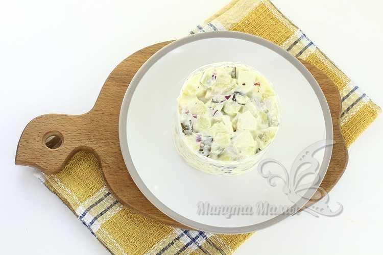 Салат картофельный с соленым огурцом - рецепт пошаговый с фото