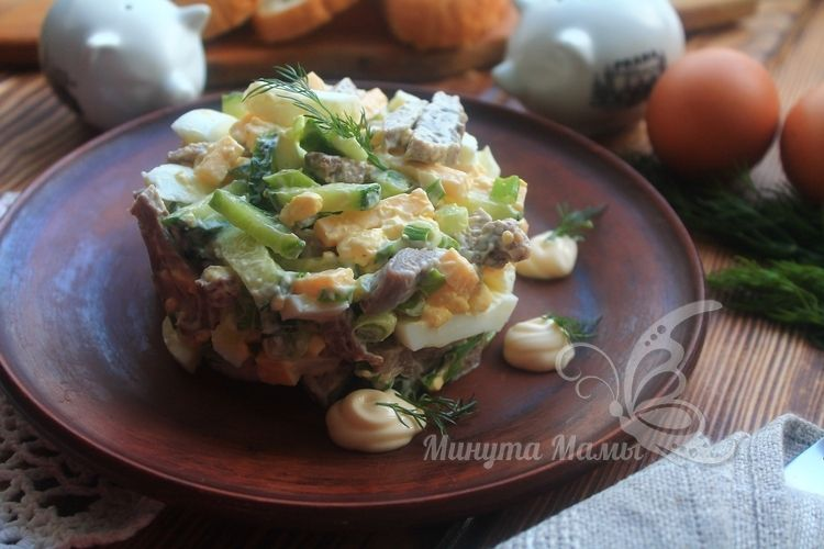 Фото-рецепт салата «Фаворит» с языком