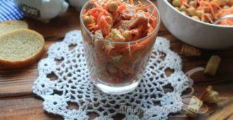 Вкусный салат с корейской морковью и колбасой