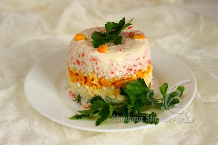 Фото-рецепт салата с крабовыми палочками без риса слоями