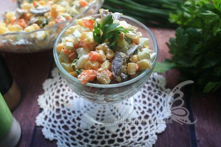Пошаговый рецепт с фото салата с куриными сердечками