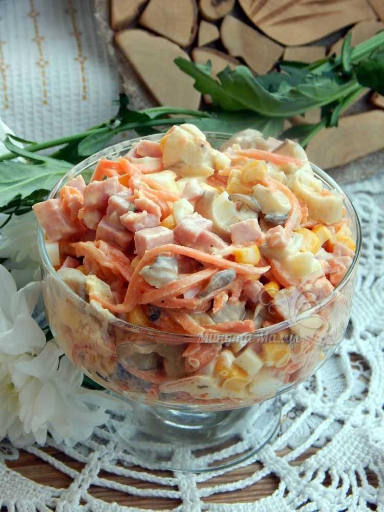 Пошаговый рецепт с фото салата с ветчиной, морковью по-корейски и кукурузой