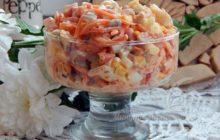 Классический простой салат с курицей и ананасом без сыра