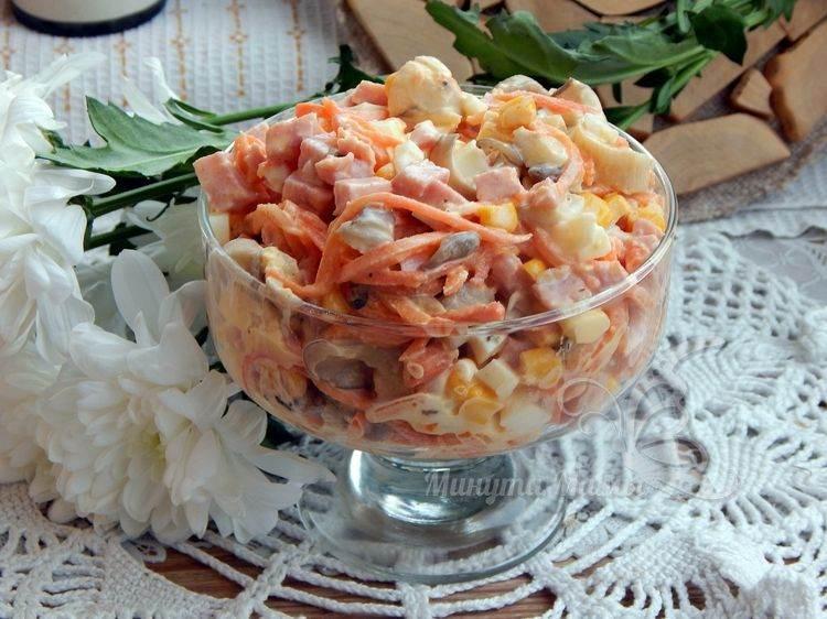 Рецепт с фото салата с ветчиной и кукурузой