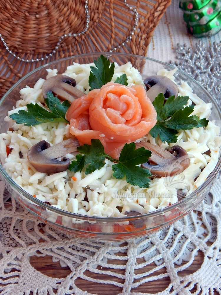Рецепт с фото вкусного салата с красной рыбой