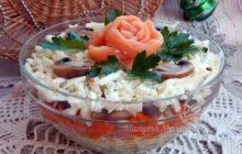 Классический слоеный салат с крабовыми палочками и кукурузой без риса