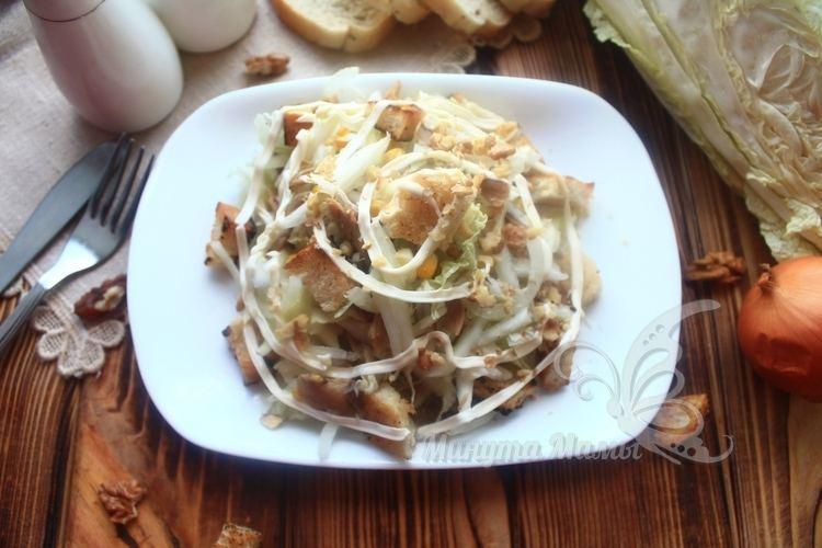 Фото-рецепт салата с пекинской капустой, курицей и майонезом