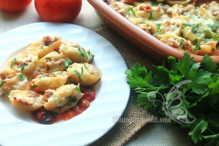 Фаршированные макароны ракушки с фаршем - рецепт с фото пошагово в духовке