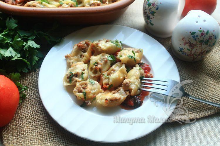 Рецепт с фото фаршированных макарон ракушки с фаршем в духовке