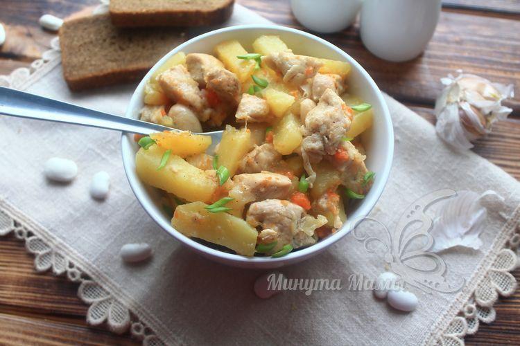 Рецепт с фото курицы с картошкой и фасолью в мультиварке
