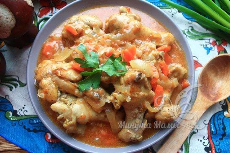 Рецепт с фото тушеной курицы в томатном соусе