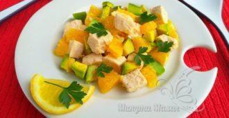 Очень вкусный и простой салат из авокадо с курицей