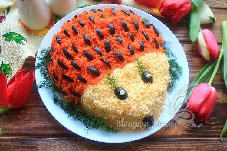 Рецепт с фото салата «Ёжик» с корейской морковью