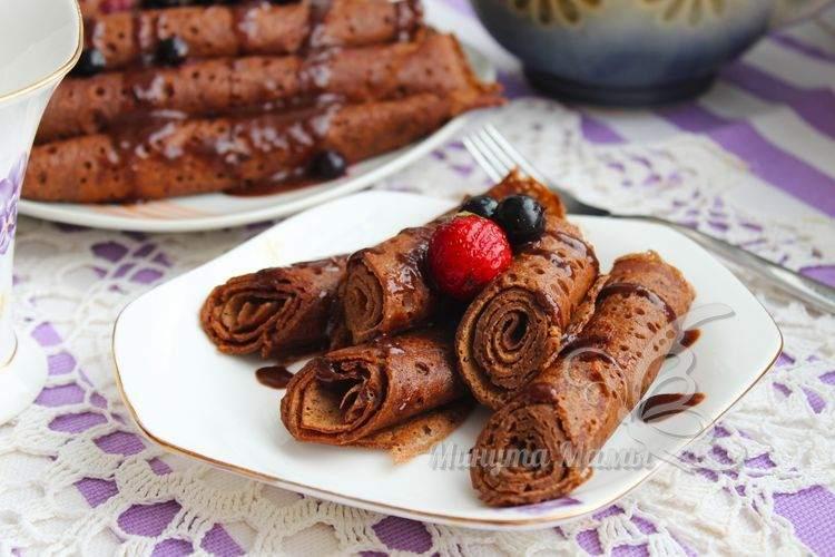 Рецепт с фото шоколадных блинчиков с какао