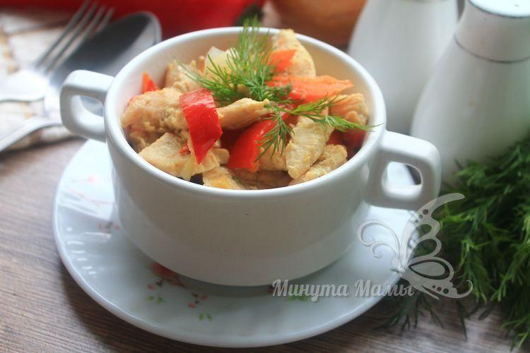 Рецепт с фото тушеной курицы с овощами