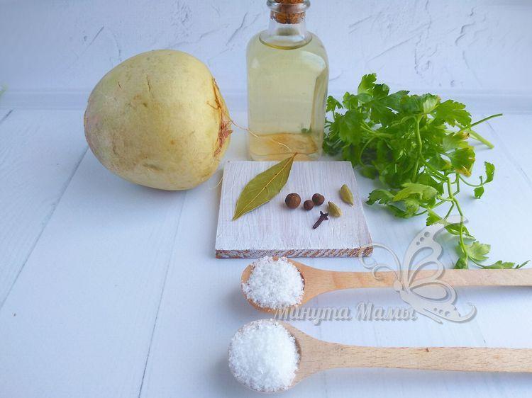 Ингредиенты для маринованной редьки