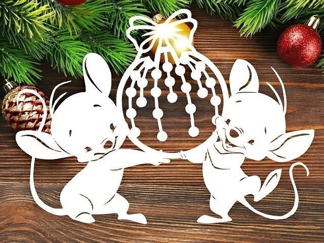 Новогодние вытынанки на Новый 2020 год Мышки для вырезания на окно
