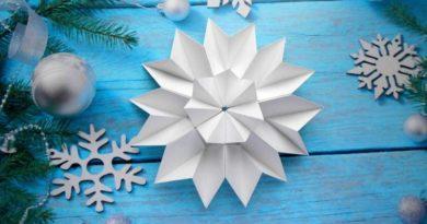 Объемные снежинки из бумаги на Новый год