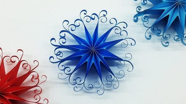 Снежинка из бумаги 3д