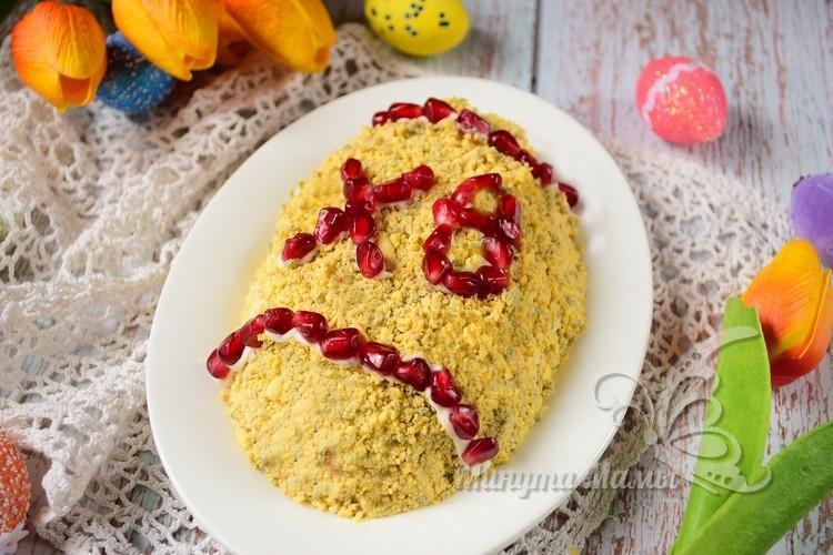 Пасхальный салат в виде яйца