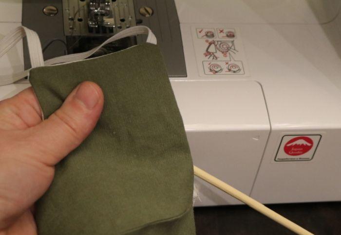 пристрочить резинки на машинке