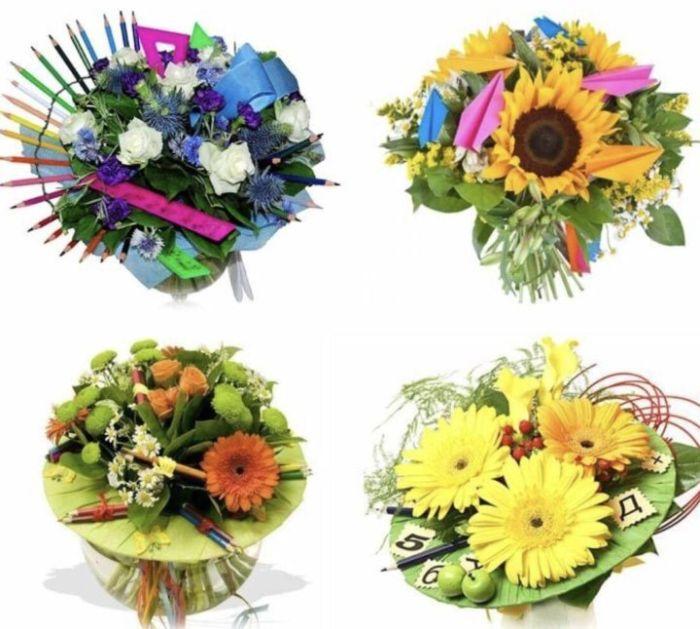 букет цветов первокласснику на 1 сентября фото