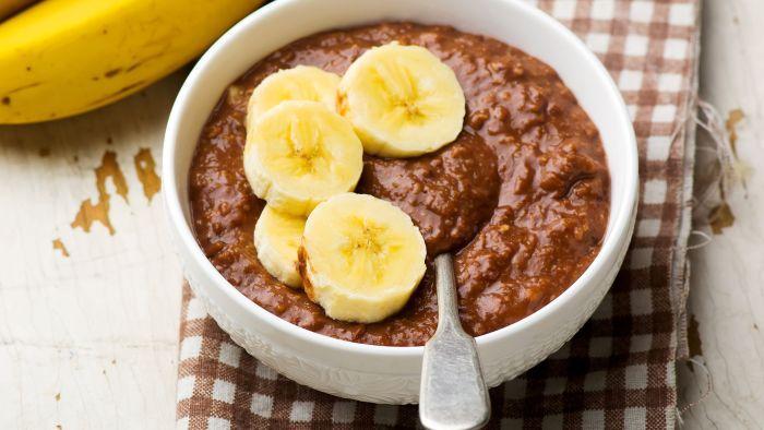 овсяная каша с шоколадом и бананом