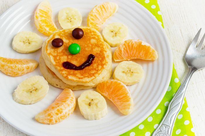 оладьи с бананом и мандаринами